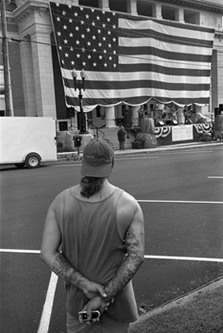 Tattooed Man and Flag, Pontotoc, Mississippi, 2005